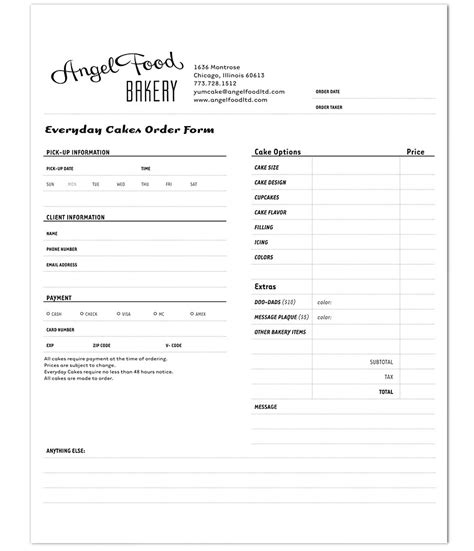bakery order form template food bakery order form on track marketing