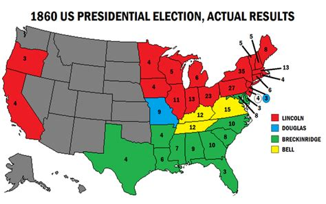 1860 electoral map abraham lincoln becomes president