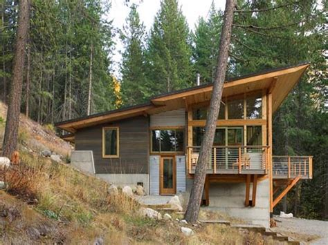 Wooden beach house, small cabin plans hillside mountain