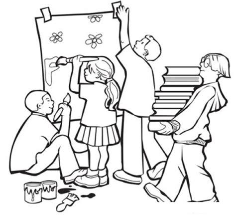 imagenes de hombres trabajando para colorear dibujo de ninos decorando y trabajando en la escuela para