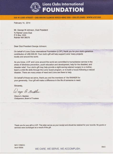 Thank You Letter For Donation To Foundation Rainier Lions Club Lcif Quot Thank You Letter Quot
