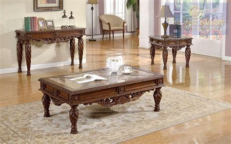 Marble Living Room Table Set Ornate 3 Living Room Table Set Traditional Style W Marble Tops