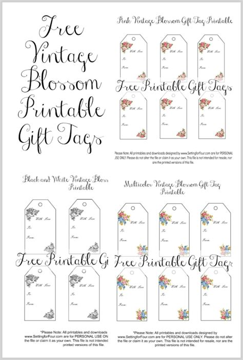 printable anniversary gift tags vintage blossom free printable gift tags setting for four