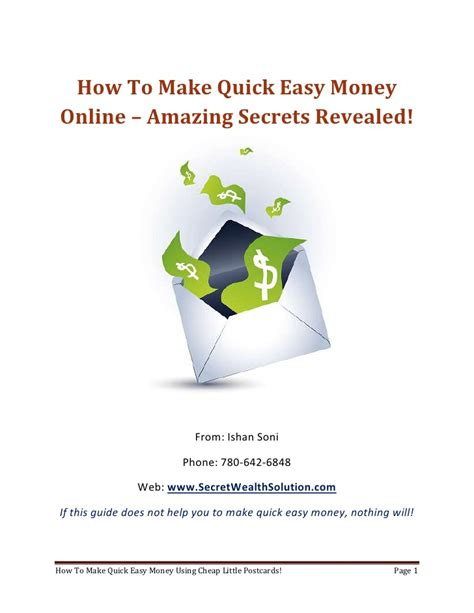 How To Make Quick Easy Money Online - how to make quick easy money using postcards