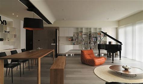 asian interior design modern apartment plan with neutral colors and bold accents