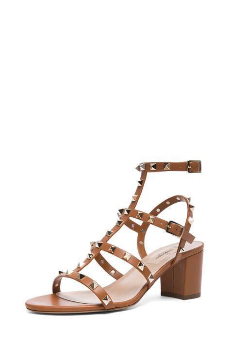 valentino rockstud sandals valentino rockstud leather sandals t60 in brown light