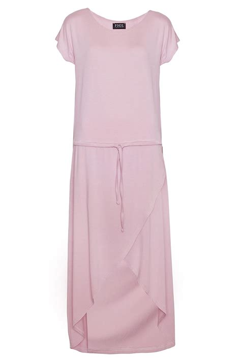 trendy pink dress with drawstring belt and overlap skirt