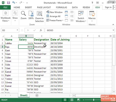 tutorial microsoft excel 2013 how to unfreeze rows columns in ms excel 2013