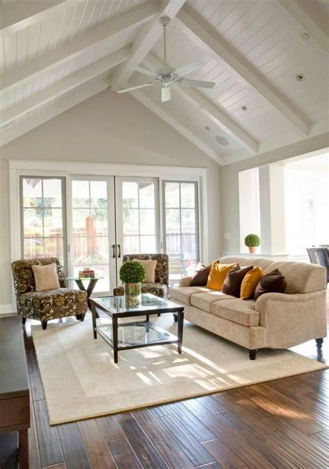 cathedral ceiling living room  white ceiling fan