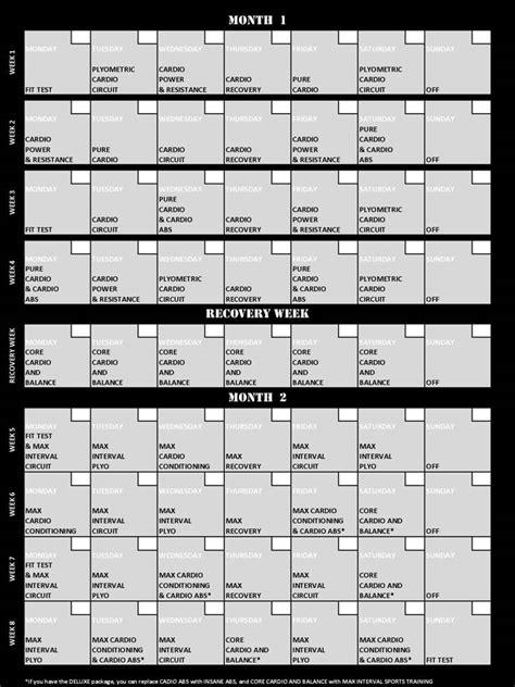 Insanity Calendar Insanity 60 Day Total Conditioning Program 2 Lazy 4