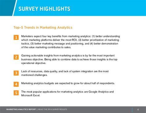 marketing survey report sle marketing analytics report