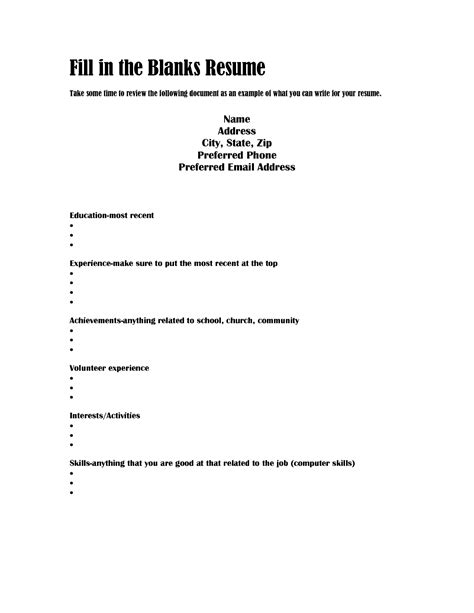 resume fill up blank forms to out free templates 5 business