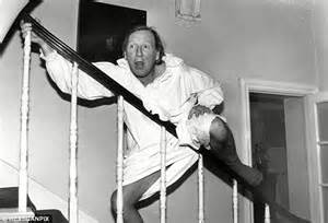 sliding down banister leslie phillips 90 in hospital after having a stroke on