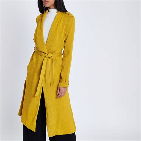 mustard yellow mustard yellow belted duster trench coat coats jackets sale