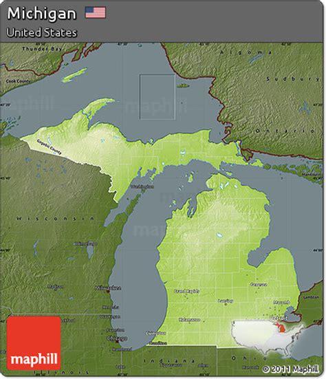 physical map of michigan free physical map of michigan darken