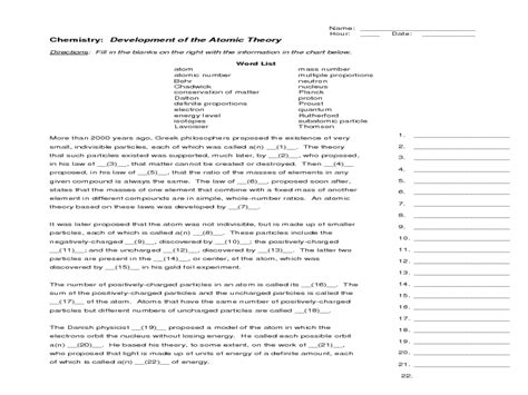Chemistry Development Of The Atomic Theory Worksheet Answers activity atoms building blocks of matter images
