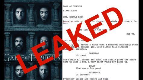 Omg Gamis omg of thrones season 7 script leaked
