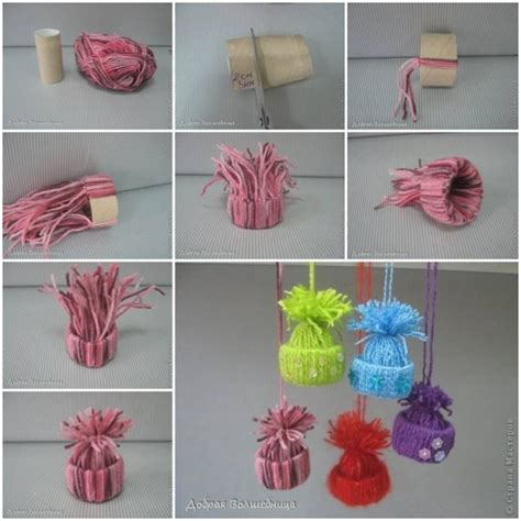 yarn craft projects easy to make diy yarn winter hat ornaments find