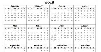 2018 Annual Calendar Free 2018 Yearly Calendar Pdf Word Excel Templates