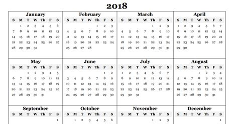 free 2018 yearly calendar pdf word excel templates