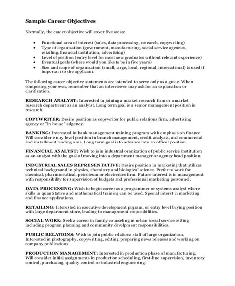 career objectives for a 7 sle career objective statements sle templates