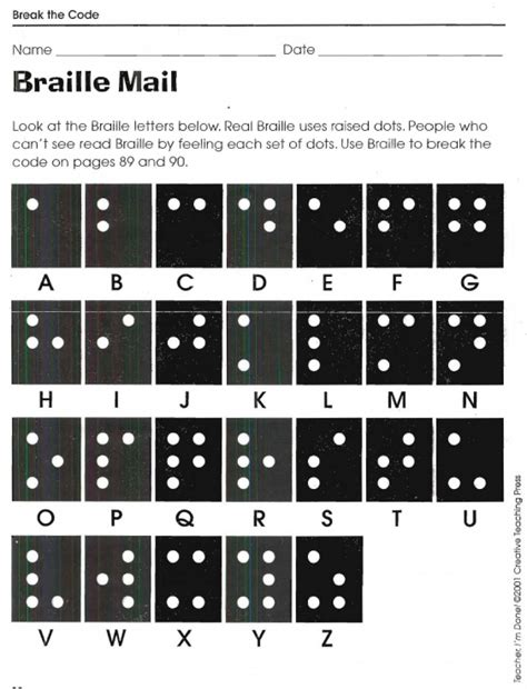 Braille Worksheets Printables by Braille Mail The Code Worksheets Free Printable