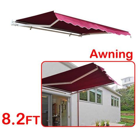 awning red outsunny 8 manual retractable patio awning red