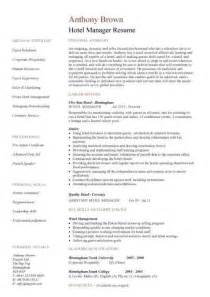 hotel manager cv template job description cv example