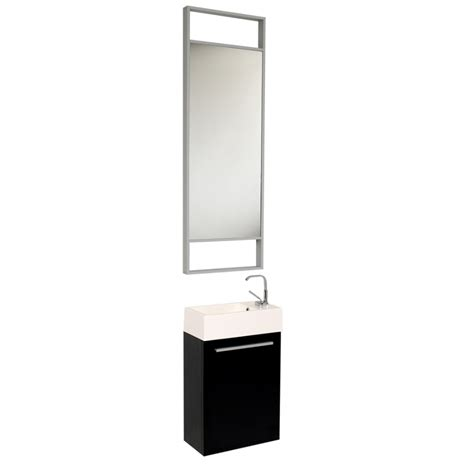 Modern Black Bathroom Vanity 15 5 Inch Small Black Modern Bathroom Vanity With Mirror Uvfvn8002bw15