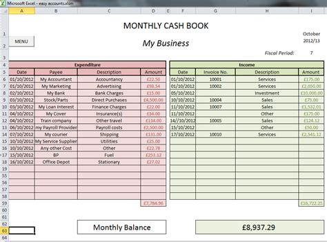 cash accounting spreadsheet free