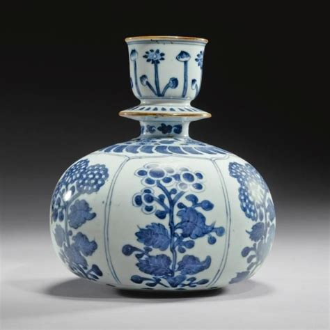 white porcelain l base a kangxi blue and white porcelain huqqa base for the