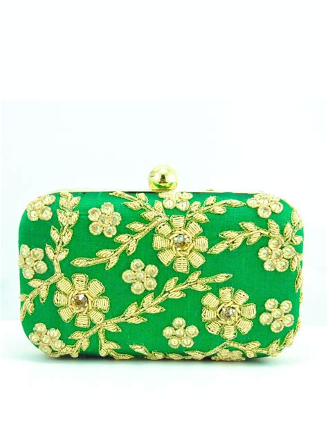 Clutch Royal Green green zardozi flower clutch