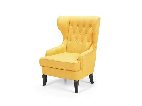 Yellow Wingback Armchair Wingback Chair Armchair Retro Tufted Polyester