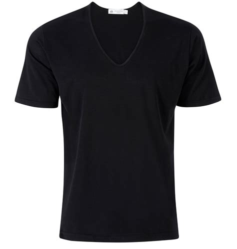 V Neck T Shirts s superfine cotton low v neck t shirt in black sunspel