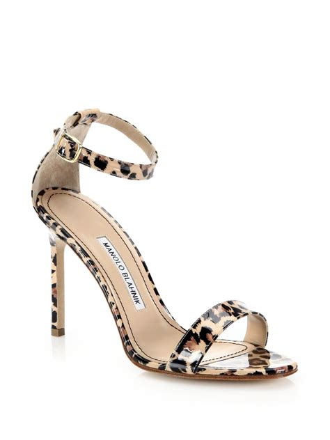 animal print sandals shoes manolo blahnik chaos leopard print patent leather ankle