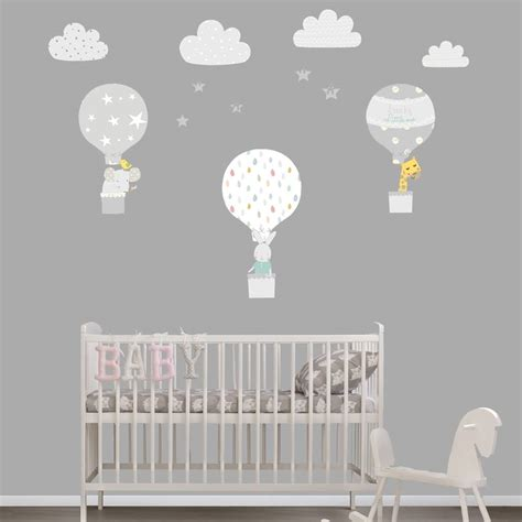 Air Balloons Wall Sticker grey air balloon fabric wall stickers by littleprints