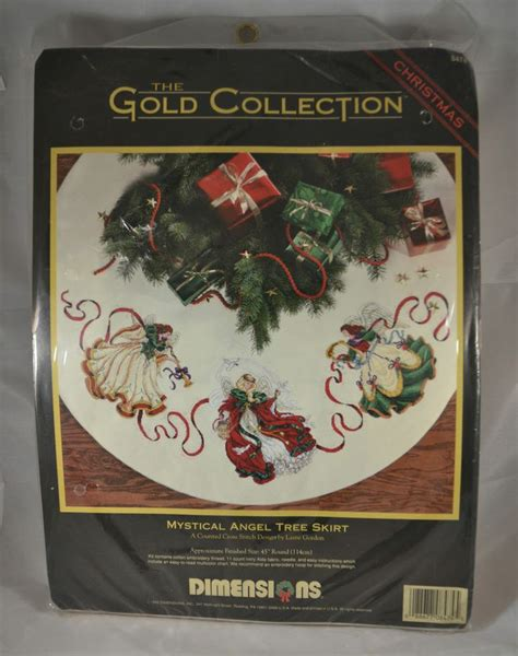 dimensions mystical angel christmas tree skirt counted