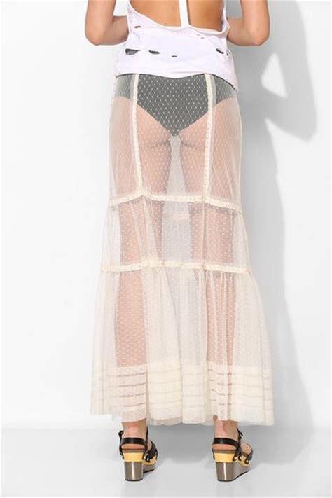 kimchi blue matilda sheer mesh maxi skirt in transparent