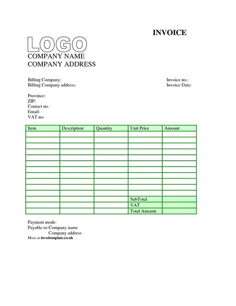 Invoice Template Uk Word Invoice Exle Invoice Template Word Free