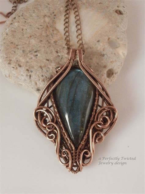 wire wrap pendant necklace labradorite antiqued copper wire