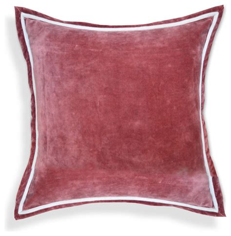 Sofa Pillows Contemporary Solid Velvet Designer 20 Inch White Piping Throw Pillows