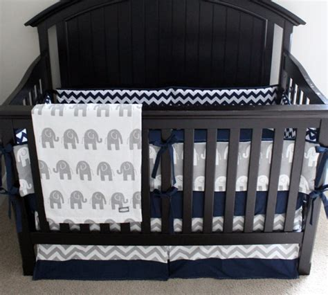 Blue And Gray Crib Bedding Elephant Crib Bedding Navy And Grey Baby Bedding Navy Blue