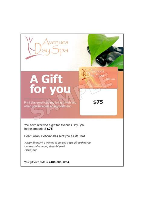 Mail Gift Cards - email gift card avenues day spa salt lake city ut
