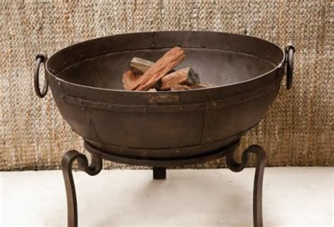 Iron Chiminea Stand Indian Style Iron Bowl Stand Pit Asian Bbqs