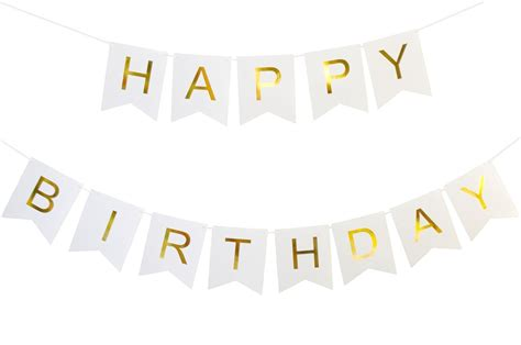 Banner Happy Birthday kaluc happy birthday banner white and gold birthday decorations and supplies