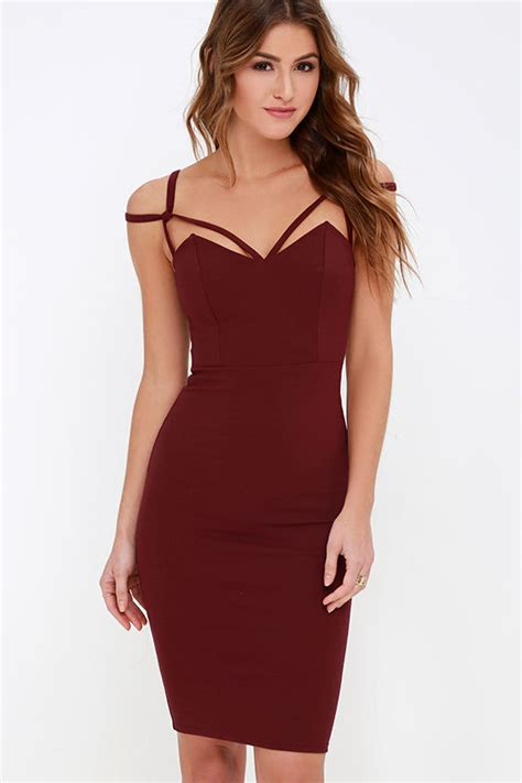 Ghaida Simple Choker Dress Maroon maroon dress midi dress bodycon dress 48 00
