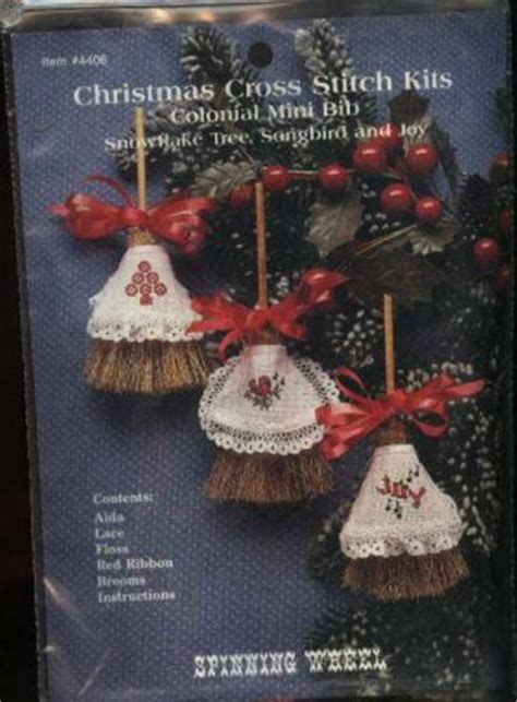 colonial mini broom christmas ornaments counted cross