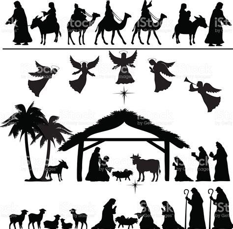 clipart presepe nativity silhouette set stock vector 515925845 istock