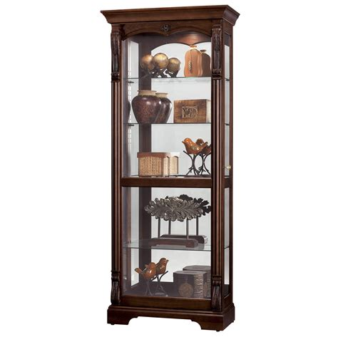 howard miller cherry modern curio display cabinet 680501 bernadette