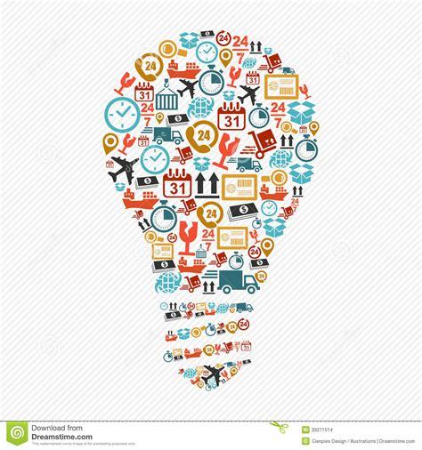 design icon ideas idea light bulb colorful shipping web icons composition